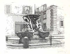 Fountain of the Turtles - Original Etching by Giuseppe Malandrino - 1970s