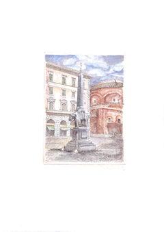 Minerva Square - Original Etching by Giuseppe Malandrino - 1970