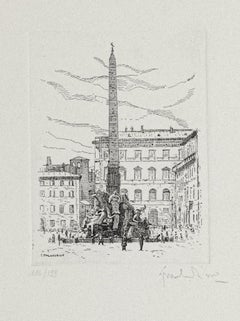 Navona Square-Fountain of the Four Rivers-Rome- Etching by G. Malandrino - 1970s