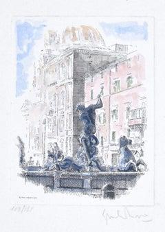 Navona Square - Fountain of the Triton - Rome - Etching by G. Malandrino - 1970s