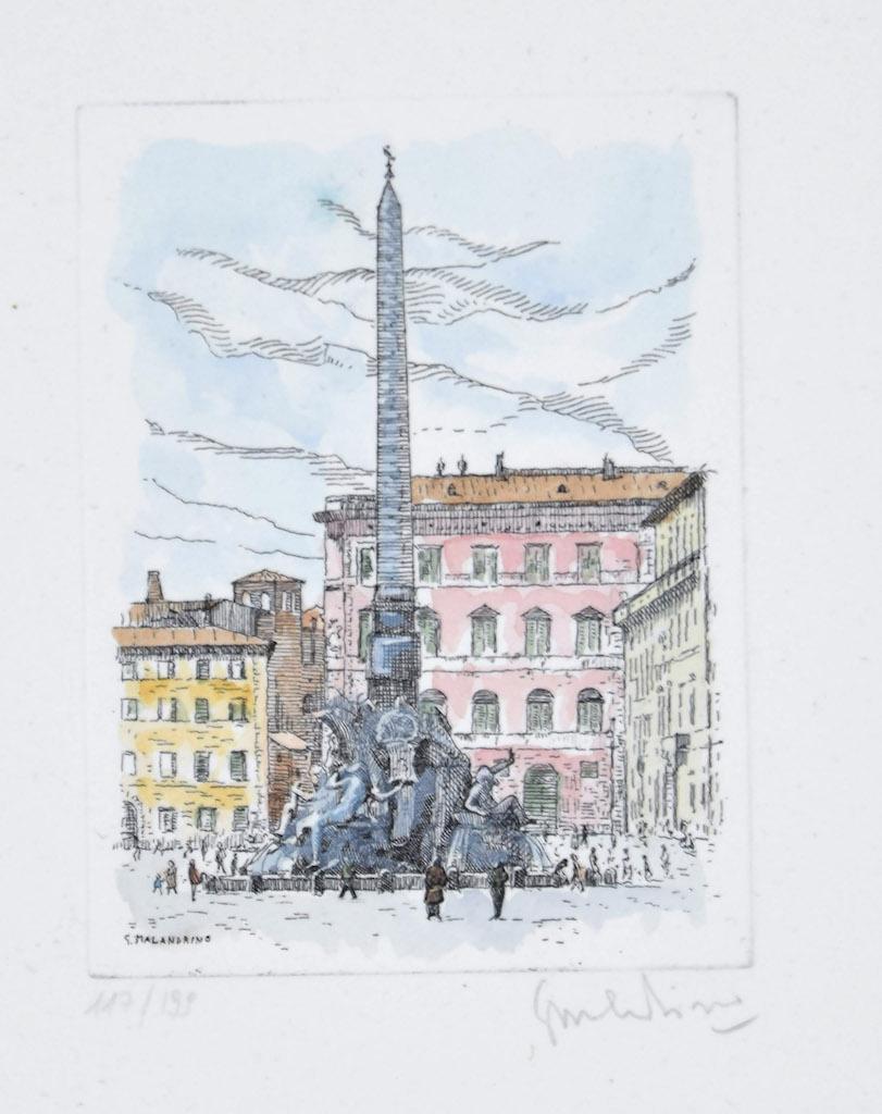 Navona Square - Original Etching by Giuseppe Malandrino - 1960