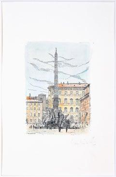 Navona Square (Rome, Italy)  - Original Etching by G. Malandrino