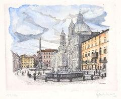 Navona Square - Rome - Original Etching by Giuseppe Malandrino - 1970s
