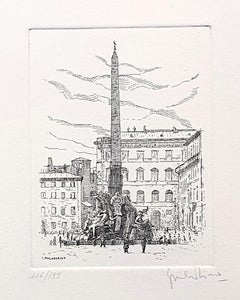 Navona Square/Rome - Original Etching by Giuseppe Malandrino - 1971