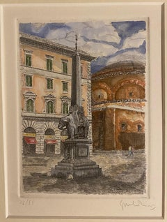 Piazza della Minerva - Rome - Original Etching by Giuseppe Malandrino - 1970s