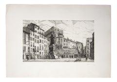 Roma Campo de' Fiori - Original Etching by Giuseppe Malandrino - 1971