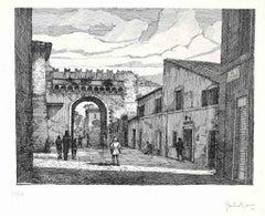 Rome-Porta Settimiana - Original Etching by Giuseppe Malandrino - 1970s