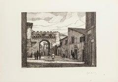 Rome - Porta Settimiana - Original Etching by Giuseppe Malandrino - 1970s