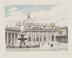 St. Peter's Square - Original Etching by Giuseppe Malandrino - 1960s