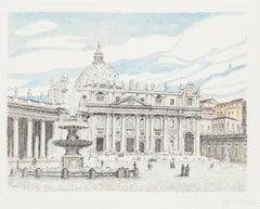 St. Peter's Square - Original Etching by Giuseppe Malandrino - 1970s