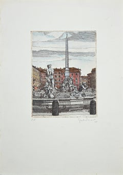 The Fountains of Piazza Navona - Rome - Etching by G. Malandrino - 1970s
