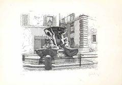 Turtle Fountain - Original Etching by Giuseppe Malandrino - 1970s