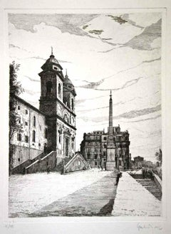 View of Trinità dé Monti (Rome, Italy)  - Original Etching by G. Malandrino