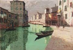 'Rio della Sensa, Venice', Venetian Vedute, Mid-century Post-Impressionist oil