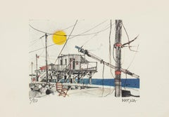 Networks in Fiumicino - Lithograph on Paper by Giuseppe Megna - 1970s