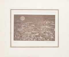 Networks in Fiumicino - Original Etching on Paper by Giuseppe Megna - 1977