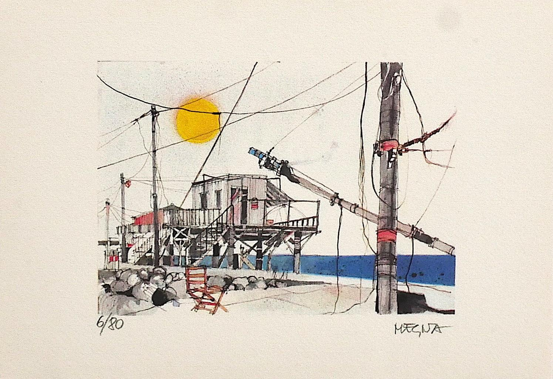 Networks in Fiumicino - Original Lithograph by Giuseppe Megna - 1970