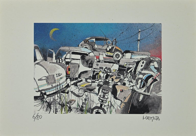 Scarp Cars is an original lithograph on paper realized by Giuseppe Megna in 1970 ca.  Hand-signed on the lower right and numbered on the lower left in pencil, edition of 6/80 prints.  In very good condition.
