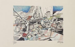 The Collapse - Original Lithograph on Paper by Giuseppe Megna - 1970s