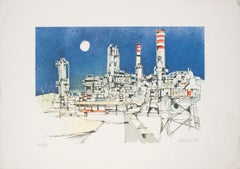 The Factory - Original Lithograph on Paper by Giuseppe Megna - 1980