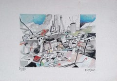The Junkyard - Original Lithograph on Paper by Giuseppe Megna - 1960s