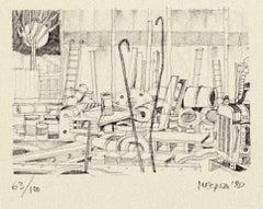 Workshop - Original Lithograph on Paper by Giuseppe Megna - 1980 ca.