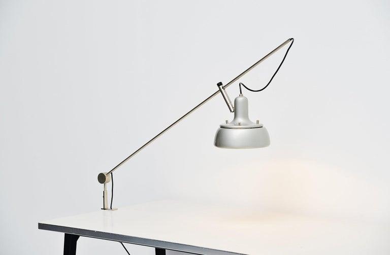 Plated Giuseppe Ostuni 292-R Desk Clamp Lamp Italy 1950 For Sale