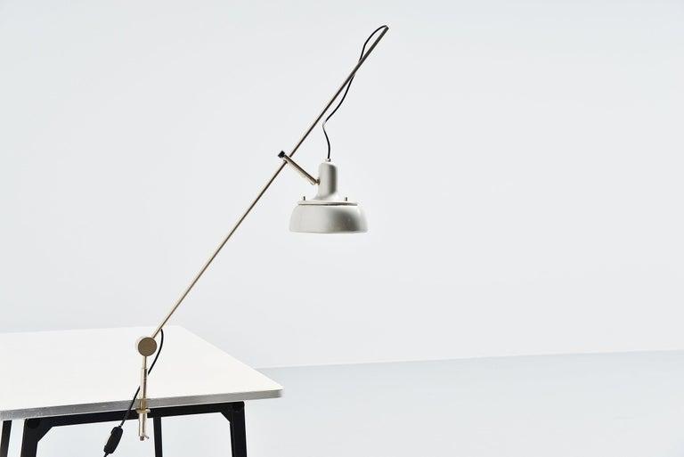 Aluminum Giuseppe Ostuni 292-R Desk Clamp Lamp Italy 1950 For Sale