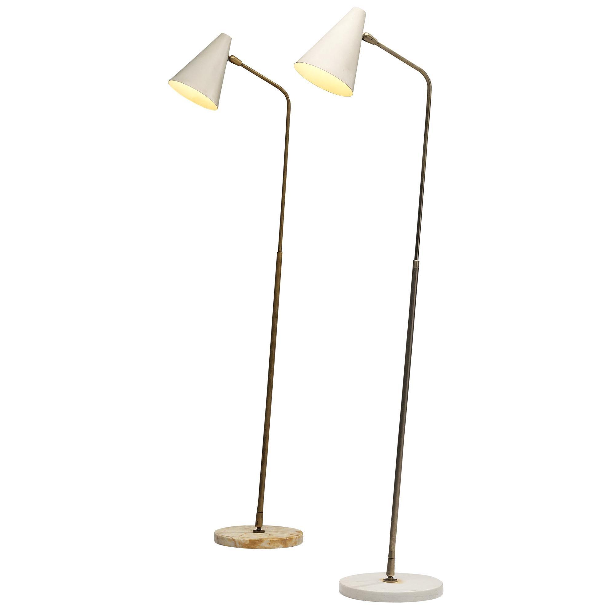Giuseppe Ostuni Adjustable Floor Lamps in Marble and Metal