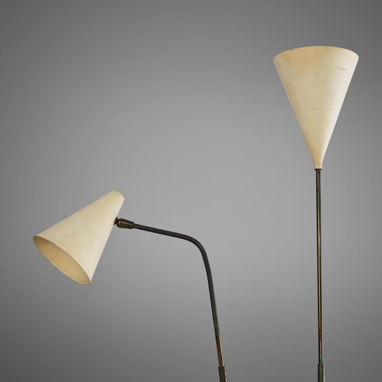 Giuseppe Ostuni Floor Lamp with Two White Shades For Sale 3