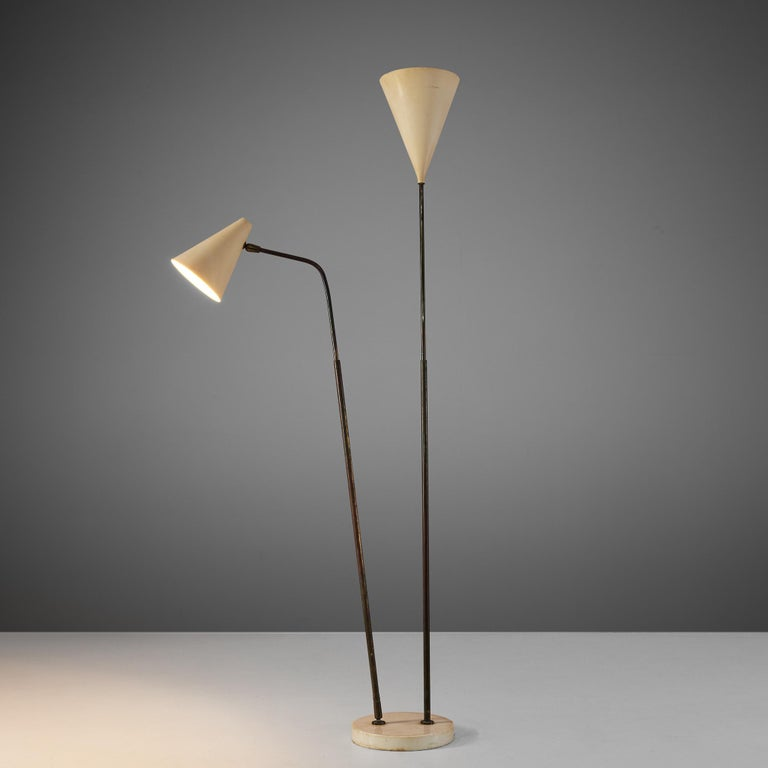 Giuseppe Ostuni for O-Luce, floor lamp, metal, marble and brass, Italy, 1950s  Rare and completely original floor lamp from the 1950s with an admirable patina. Inventive technical details, the brass joints, the shape of the shades make this lamp
