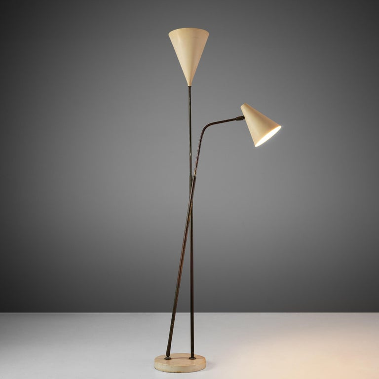 Mid-Century Modern Giuseppe Ostuni Floor Lamp with Two White Shades For Sale