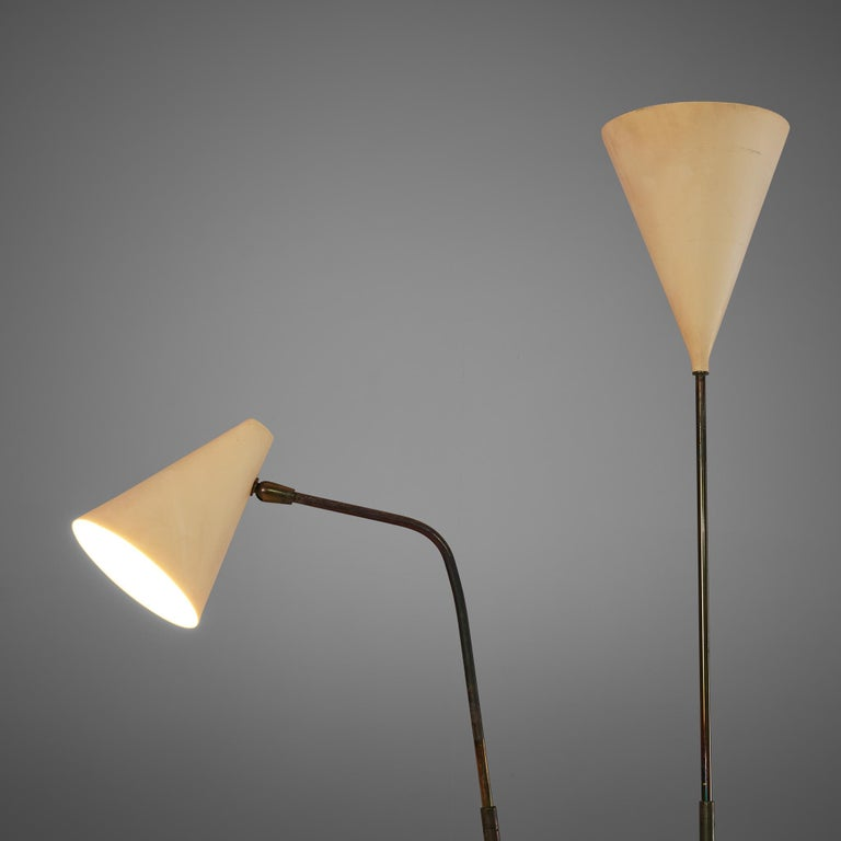 Italian Giuseppe Ostuni Floor Lamp with Two White Shades For Sale