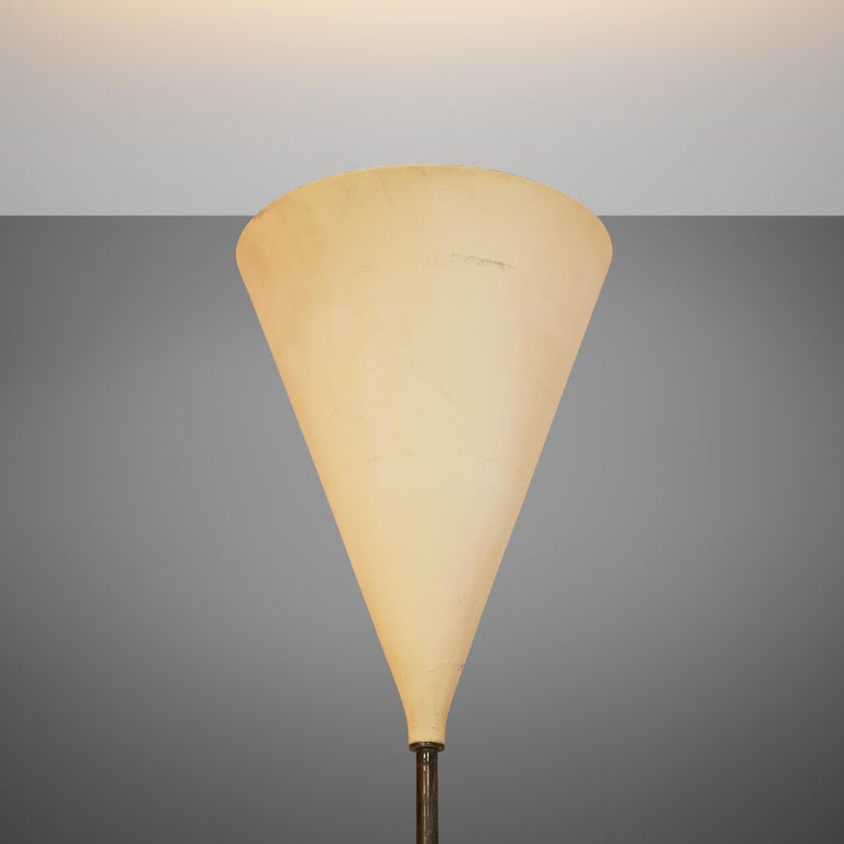 Metal Giuseppe Ostuni Floor Lamp with Two White Shades For Sale