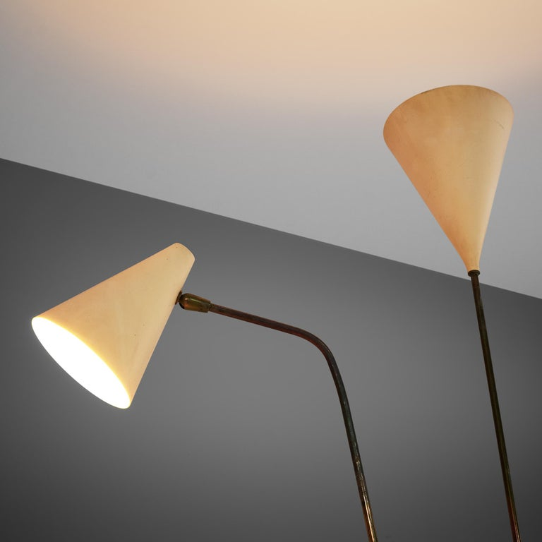 Giuseppe Ostuni Floor Lamp with Two White Shades For Sale 2