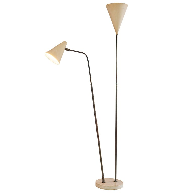 Giuseppe Ostuni Floor Lamp with Two White Shades For Sale