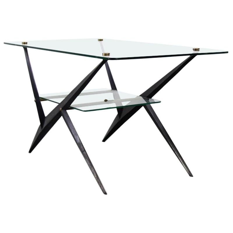 Giuseppe Ostuni Italian Black Lacquered Iron Glass Side Table with Brass, 1950s