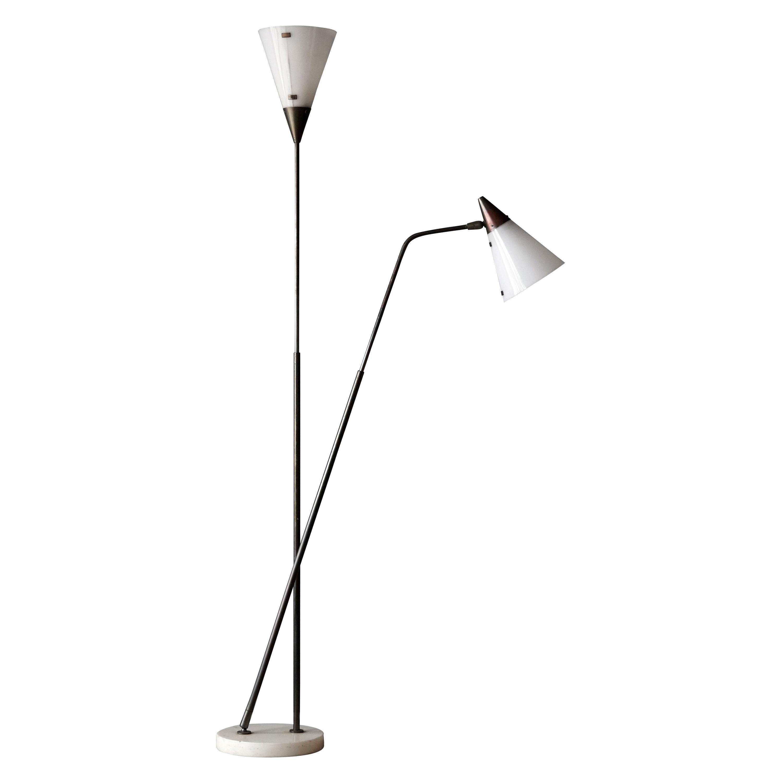 Giuseppe Ostuni Rare Adjustable Floor Lamp, Brass, Acrylic, O-Luce, Italy, 1950s