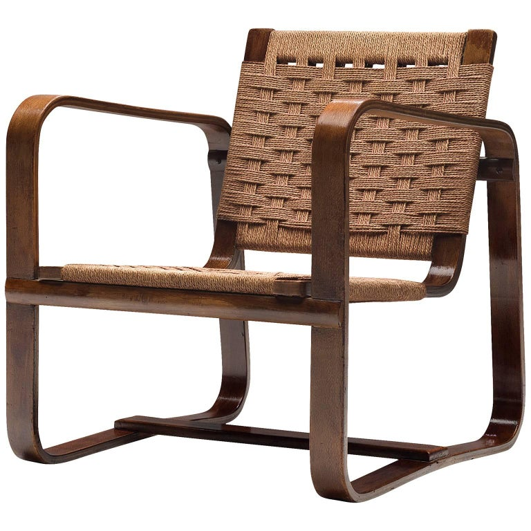 Giuseppe Pagano Curved Easy Armchair in Beech For Sale at ...