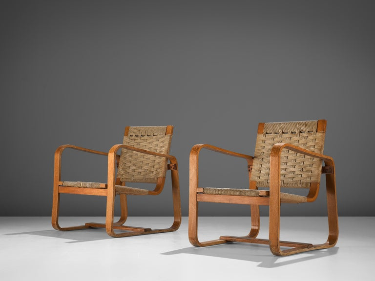 Italian Giuseppe Pagano Pogatschnig Pair of Bentwood Lounge Chairs, 1940s