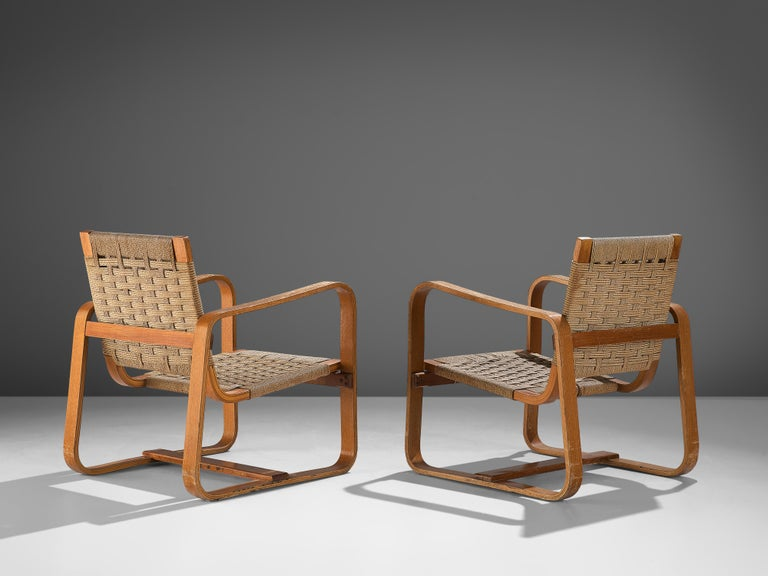 Mid-20th Century Giuseppe Pagano Pogatschnig Pair of Bentwood Lounge Chairs, 1940s