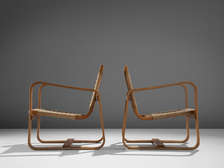 Giuseppe Pagano Pogatschnig Pair of Bentwood Lounge Chairs, 1940s 1