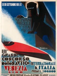 """Grande Concorso Motonautico Venezia"" Original Vintage Speed Boat Poster 1930s"