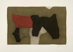 Abstract Composition - Original Lithograph by Giuseppe Santomaso - 1974