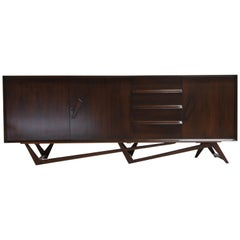 Giuseppe Scapinelli Brazilian Rosewood Architectural Sideboard, Brazil, 1950s