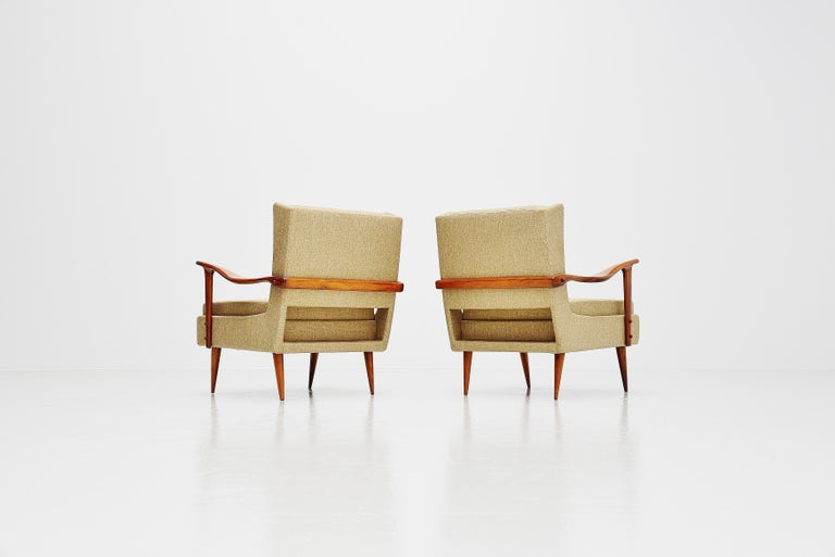 Mid-Century Modern Giuseppe Scapinelli Caviuna Lounge Chairs Pair, Brazil, 1955 For Sale