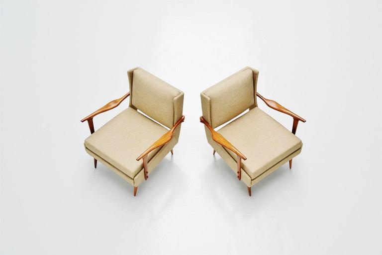 Brazilian Giuseppe Scapinelli Caviuna Lounge Chairs Pair, Brazil, 1955 For Sale