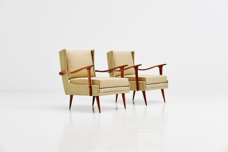 Giuseppe Scapinelli Caviuna Lounge Chairs Pair, Brazil, 1955 In Good Condition For Sale In Roosendaal, Noord Brabant