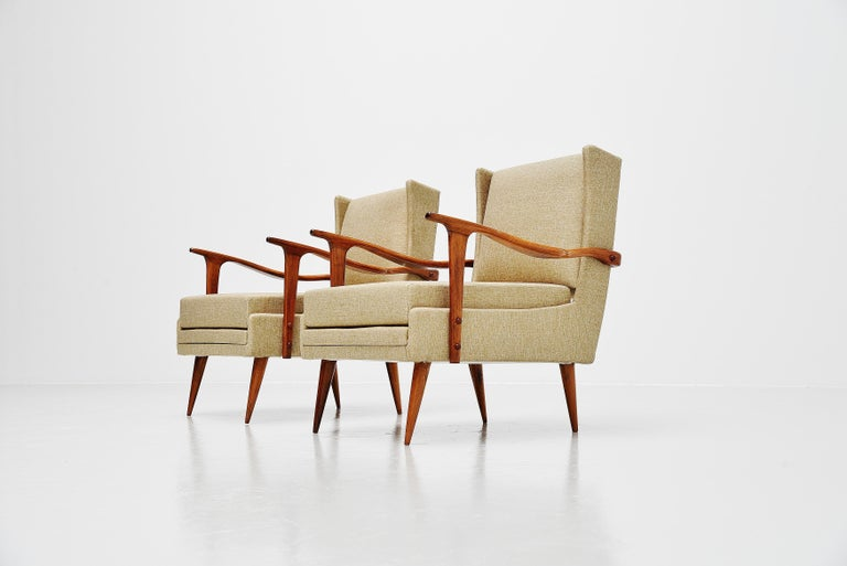 Mid-20th Century Giuseppe Scapinelli Caviuna Lounge Chairs Pair, Brazil, 1955 For Sale