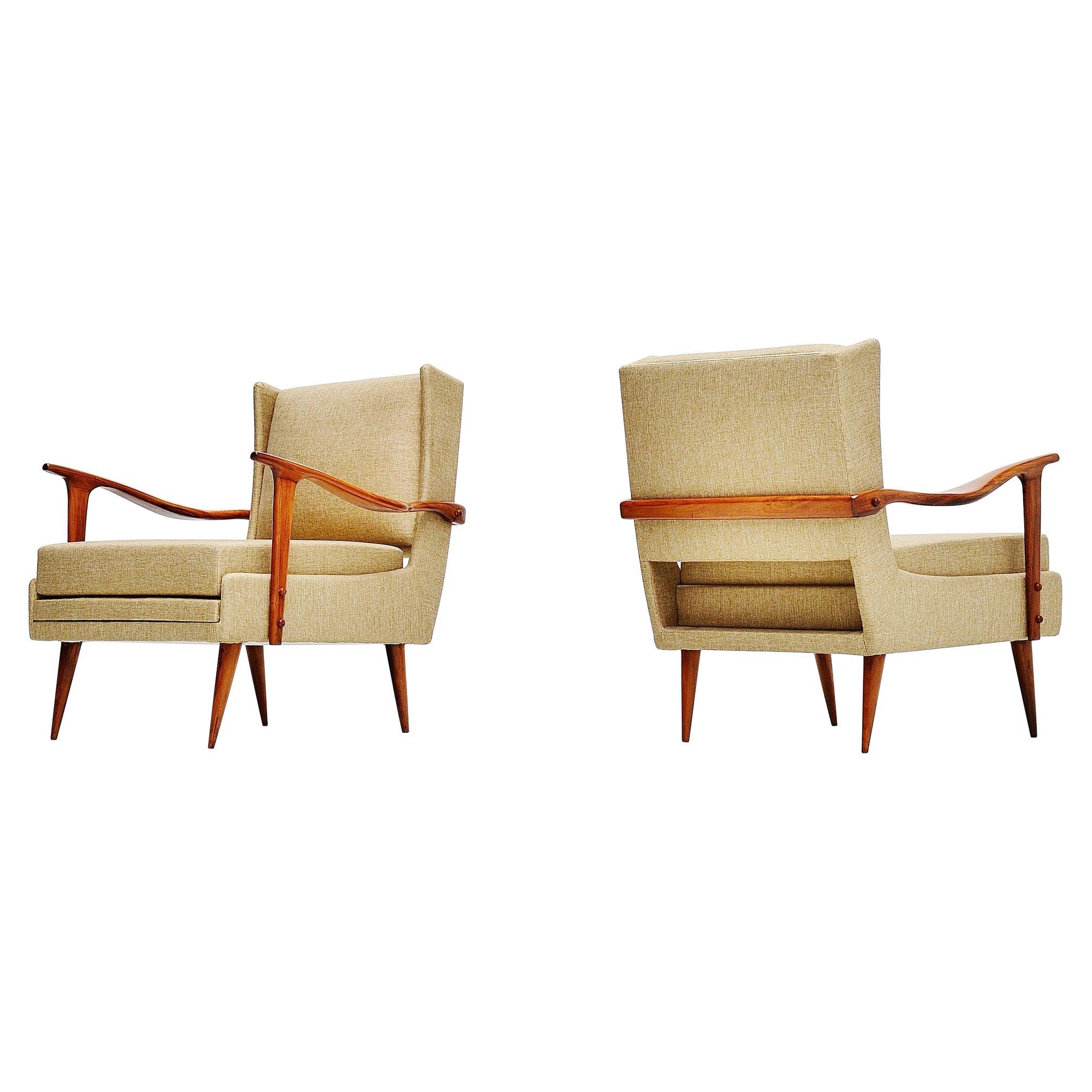Giuseppe Scapinelli Caviuna Lounge Chairs Pair, Brazil, 1955